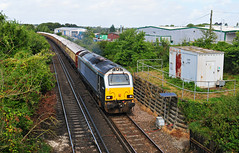67014 tnt 67018 working the 1Z12 London Victoria- Broadstairs railtour is seen heading out of Swanley on 20-8-16. Copyright Ian Cuthbertson (I C railway photo's) Tags: class67 67014 skip swanley railtour