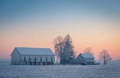 daybreak farm (Jen MacNeill) Tags: winter house cold barn buildings landscape dawn pennsylvania farm pa lancastercounty daybreak