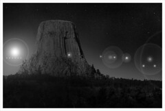 Close Encounters (chadbrowngraphics) Tags: trees light sky bw white mountain black tower night close devils aliens illusion unknown wyoming orbs spacecraft encounters