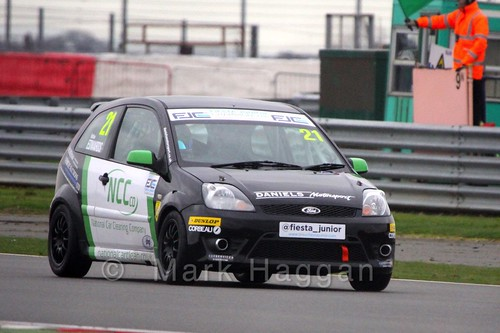 Nathan Edwards qualifying for the BRSCC Fiesta Junior Championship at Silverstone, April 2015