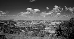 Scenic TRNP South Unit SE 2 (hunter20ga) Tags: summer blackandwhite panorama clouds northdakota badlands greatplains theodorerooseveltnationalpark littlemissouririver nikond4 nikkor247028 reallyrightstuffbh55lr northerngreatplains gitzogt3542ls prairiepanorama northernprairie