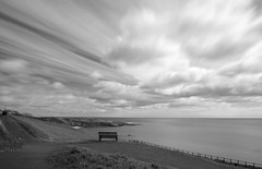 1-4-2015 (Copperhobnob) Tags: longexposure sea blackandwhite sun beach coast scotland rocks waves wind fife crail hoyandx400 roomebay