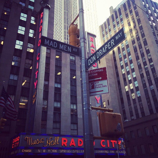 Radio City Music Hall is located at the corner of Mad Men Ave. and Don Draper Way. #MadMen #DonDraper #MadMenAve #DonDraperWay