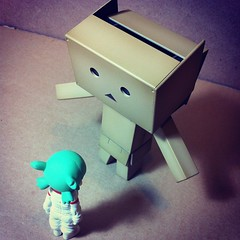 Huh?!  Opening?! (astrosnik) Tags: square robot cardboard squareformat yotsuba danbo danboard cardbo iphoneography instagramapp xproii uploaded:by=instagram