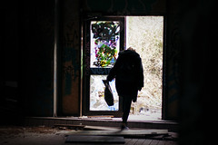 Abandon All The Hope (hannavantwillert) Tags: light black berlin girl canon dark 50mm graffiti creepy abandon mysterious 18