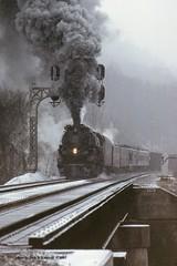 C&O 614T, Pratt, WV. 1-11-1985 (jackdk) Tags: railroad bridge snow train lima railway steam co locomotive coal northern signal pratt greenbriar steamlocomotive 484 chesapeakeandohio 614 coaltrain signalbridge co614 limalocomotive 614t prattwv