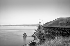 Golden Gate (Jesse Childers) Tags: sanfrancisco city longexposure bridge bw landscape blackwhite sigma goldengatebridge bayarea 1770 f28 nd110 nikond7000