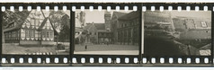 35mm Contact Print Roll In der Heimat (03) (Hans Kerensky) Tags: house tower film church 35mm paper print square found deutschland with cathedral holes sundial photographs german f roll contact agfa heimat halftimbered braunschweig sprocket domplatz isopan
