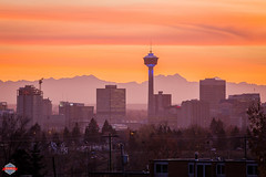 A Calgary Sunset (Rob Moses) Tags: city sunset sky canada mountains building calgary tower beautiful skyline architecture clouds canon buildings rockies amazing pretty outdoor dusk 300mm alberta rockymountains calgarytower yyc 6d