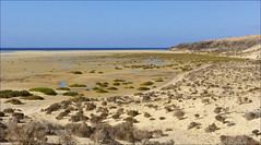 Jandia Beach - Fuerteventura (JLL85) Tags: blue sea sky espaa costa sun sol beach yellow azul landscape island islands coast mar spain sand fuerteventura playa paisaje canarias arena amarillo cielo canary seashore isla acantilado jandia