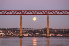 Work in Progress (Tom_Drysdale) Tags: morning bridge light moon set train edinburgh fuji south forth april moonset queensferry 2016