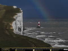 White Cliffs and Rainbows of Colour (andrewtijou) Tags: uk england lighthouse storm sussex rainbow europe waves unitedkingdom gale cliffs sevensisters beachyhead birlinggap crashingwaves roughseas andrewtijounikond7000