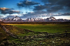 Grand Tetons-17 (Mark F Barnes) Tags: usa mountains nature sunrise landscape meadow woodenfence wyoming grandtetonnationalpark norhtamerica