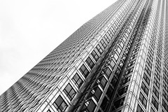 Slant (ShrubMonkey (Julian Heritage)) Tags: city urban bw abstract building tower architecture mono angles structure canarywharf a7 onecanadasquare skyscrpaer