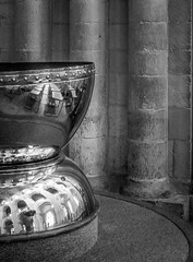 Texture Contrasts... (+Pattycake+) Tags: uk roof blackandwhite bw reflection lines architecture shadows interior curves norfolk columns masonry shapes arches textures indoors simplicity norwich copper font plinth semicircle curvesandlines lumixgm1