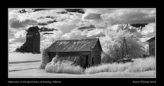 Afternoon in the ghost town of Rowley, Alberta (kgogrady) Tags: old blackandwhite bw panorama canada clouds buildings landscape blackwhite wooden spring nikon afternoon pano country farming noone sunny ab nopeople alberta infrared ghosttown weathered nikkor grainelevator rowley dx 2016 westerncanada d80 cans2s canadianprairies nikkor1870mmf3545gifed albertalandscapes picturesofalberta photosofalberta photosofrowley picturesofrowley