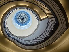 Blue eye (uneitzel) Tags: berlin lines architecture stairs spiral interior stairwell treppe staircase architektur atrium spirale upwards treppenhaus linien lichthof aufwrts friedrichauguststler stlerbau museumberggruen mzuiko918mm olympusem5
