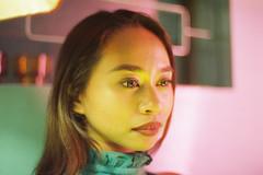 Flawless (OzGFK) Tags: asia singapore flawless druggists bar model pretty beautiful portrait film analog nikon nikkor street streetphotography cinestill cinestill800t sultry lavender