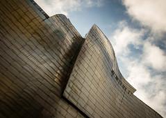 Guggenheim Museum, Bilbao (DingoShoes - life's a dream) Tags: travel sky building art metal museum architecture modern clouds spain pov metallic contemporary memories perspective bilbao guggenheim titanium frankgehry basque guggenheimmuseum travelphotography ilovespain afsnikkor18105mm13556ged nikond7000 september2015