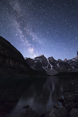 Moraine stars small (andrewpmorse) Tags: longexposure sky lake canada mountains water night canon dark stars alberta banff banffnationalpark milkyway 6d morainelake rokanon14mm