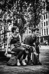 I can't believe you just said that (tootdood) Tags: trees people blackandwhite leaves laughing manchester happy couple sitting candid joke piccadilly sit sat seated streetcandid canon70d