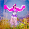Saloon Girl Gone Bad-07 (eriknorderphotography) Tags: pink newzealand christchurch outdoors flash feathers burlesqueperformer sony70200f28g sonyalpha550