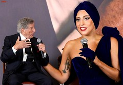 Tony Bennett and Lady Gaga (iggy62pop2) Tags: sexy celebrity female funny babe tattoos gloves singers cleavage milf giantess tallwoman heightcomparison shrinkingman minigiantess