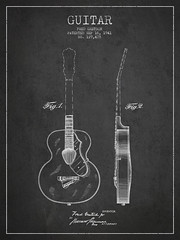 Gretsch guitar patent Drawing from 1941 (Patents Wall Art) Tags: music vintage guitar antique instrument inventor inve