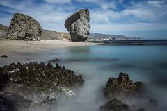 Entre aguas turquesas. (Jose HL) Tags: beach landscape see mar agua playa paisaje andalucia almeria cabodegata rocas carboneras hito playalosmuertos largaexposicióndiurna parquenacionalcabodegata