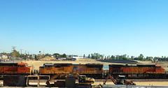 UP engine on a BNSF train (hupspring) Tags: up train construction diesel engine caterpillar unionpacific locomotive southerncalifornia orangecounty anaheim placentia bnsf excavator backhoeloader dash944cw burlingtonnorthernsantafe dash9 sd70m c449w caterpillar320c bnsfsanbernardinosub bnsf4068 up4815 bnsf4069