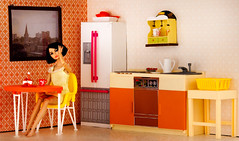 Noelle's Retro Kitchen (sodapopnu) Tags: orange kitchen yellow breakfast vintage doll room retro dishes rement arco mattel diorama nightgown sindy integritytoys playscale poppyparker girlfromintegrity