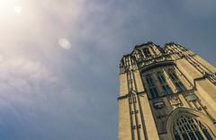 Wills Memorial (saibotography) Tags: uk sky cloud sun building architecture clouds buildings bristol unitedkingdom united kingdom spots wills sunspots