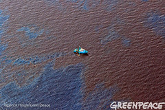 Ship Surrounded by Shell Oil (Greenpeace USA 2016) Tags: ocean usa gulfofmexico louisiana ship gulf shell greenpeace aerial oil drilling skimming fossilfuel breakfree cleanenergy portfourchon