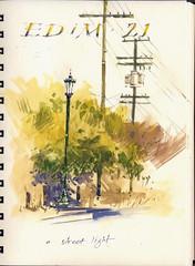 EDM, Day 21 (Sherry Schmidt) Tags: california street city urban art watercolor painting sketch losangeles streetlight streetlamp streetscene sketchbook powerlines watercolour gouache edm utilitypoles everydayinmay