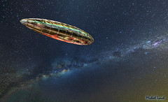 Biennale space ship slides past Milky Way