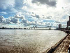 Clouds over Mississippi (Petr Horak) Tags: bridge sky water clouds river mississippi landscape louisiana waterfront unitedstates horizon riverfront hdr