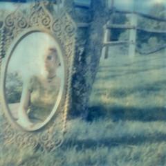 The Fairest Never Fall (Britt Grimm) Tags: portrait reflection film vintage polaroid sx70 mirror sad girly emo lightleak instant isolation expired expiredfilm instantphotography polaroidsx70 vintagedress instantfilm filmisnotdead silverframe impossibleproject snapitseeit