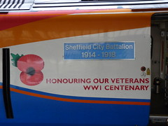 222011 'Sheffield City Battalion 1914-1918' Sheffield (Dancing is a waste, of drinking time.) Tags: sheffield wwi ww1 1914 emt 1918 nameplate southyorkshire demu class222 eastmidlandstrains