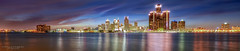 Detroit skyline panoramic (Linda Goodhue) Tags: city longexposure sunset sky panorama usa ontario canada reflection water architecture clouds river landscape outdoors cityscape nightscape michigan pano border detroit panoramic windsor bluehour detroitriver detroitmichigan windsorontario detroitskyline gmbuilding internationalborder renaissancecentre nikond800 afsnikkor1424mmf28ged lindagoodhuephotography bordercitiies