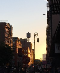 Rivington Street at sunset (Mark Nazimova) Tags: nyc newyorkcity sunset newyork lowereastside lamppost watertank rivingtonstreet