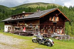 My Motorcycle at the Nockalm High Alpine Road (hl_1001) Tags: austria carinthia highalpineroad nockalm mountain hochalpenstrase alpinehut heiligenbachhütte motorcycle house nockalmstrase