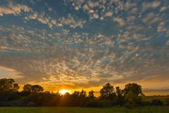 Popcorn Sunset (thefisch1) Tags: sky sunset popcorn cloud tree line pond pasture kansas alto cumulus reflection color colorful sun cottonwood flint hills oogle calander photo