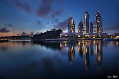 Keppel Marina blue hour (Ken Goh thanks for 2 Million views) Tags: lighting reflection water colors night marina landscape boats colorful cityscape pentax sigma full hour frame 1020 architeture hdr k1 keppel blure