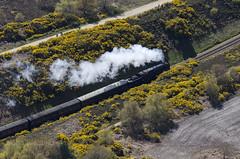 9F 2-10-0  92203 Black Prince on the Poppy Line run by the North Norfolk Railway (John D F) Tags: norfolk aerialview loco aerial aerialphotography aerialphotograph northnorfolkrailway northnorfolk blackprince 92203 poppyline aerialimage aerialimagesuk