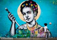 Frida Kahlo (Fred-Adams) Tags: april2016 britain eastlondon england fredadamsphotography fridakahlo fujixt10 graffiti greatbritain london painter skateboard spray stencil stencilwork uk victoriavillasana villainaart zabou art british child flowers football hackney hackneywick mexican mural paint playingfootball streetart