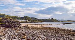 Ganavan Sands (cathbooton) Tags: clouds sky rocks seaside british britain hills people canonusers canoneos pebbles sea sand ganavansands argyll scotland beach august holidays summer