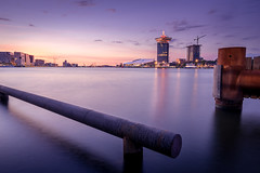 IJ (miguel_lorente) Tags: lights night adamtoren cityscape netherlands sunset river street water ij city sony eye longexposure amsterdam filmmuseum