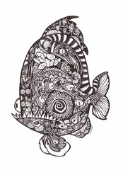 Amazonian Fishie (artyshroo) Tags: fish doodle shroo zentangle wwwartyshrooblogspotcouk artyshroo