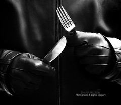 """KNIFE & FORK ATTACK"" (David Preston Photography & Digital Imagery) Tags: uk england monochrome leather mono blackwhite hands cheshire ominous threatening knife fork gloves conceptual blackhumour photographershome"