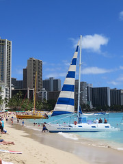 boats on the beach (BarryFackler) Tags: ocean sea sky beach water skyline clouds boats hawaii polynesia coast sand paradise pacific waikiki oahu anniversary shoreline pacificocean shore sail coastline honolulu watersports swimmers waikikibeach masts watercraft catamarans saltwater vessels sandybeach silveranniversary bathers 2015 tourboats nahokuii highrisehotels kepoikaiii barryfackler barronfackler our25thweddinganniversary